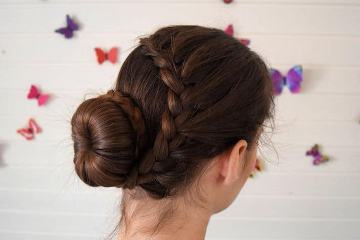 Lace Braid Wrapped Around a Ballerina Bun