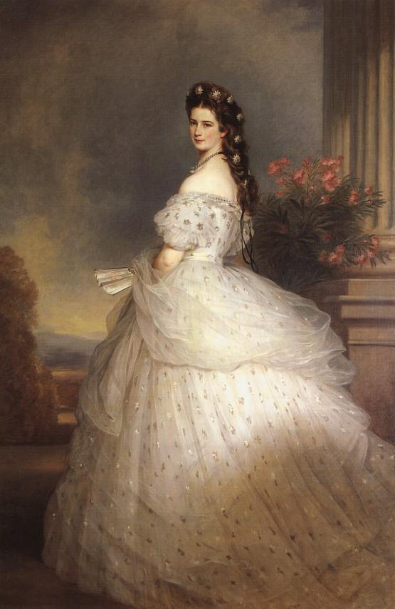 Keizerin Elisabeth van Wenen met diamanten sterren in haar haar door Xaver Winterhalter in 1864