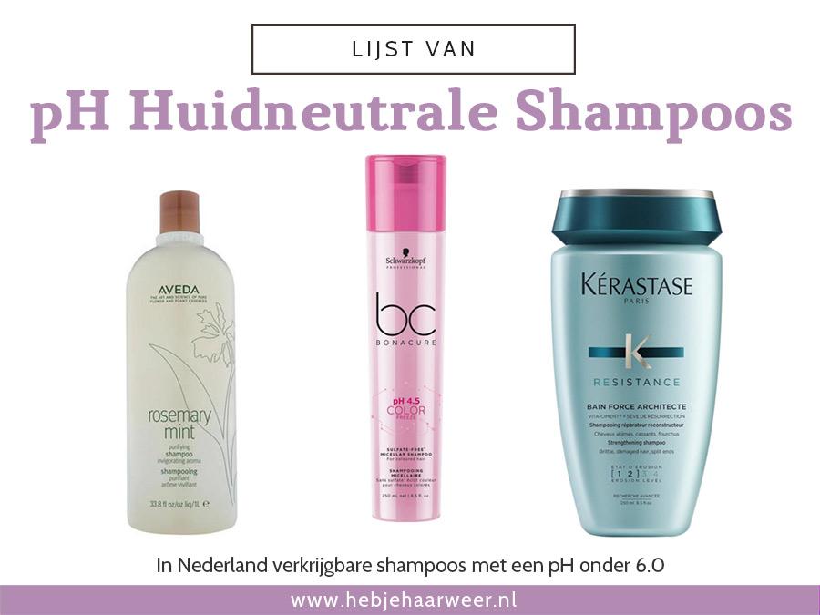 Lijst van shampoos die pH huid neutraal zijn (pH onder 6.0)
