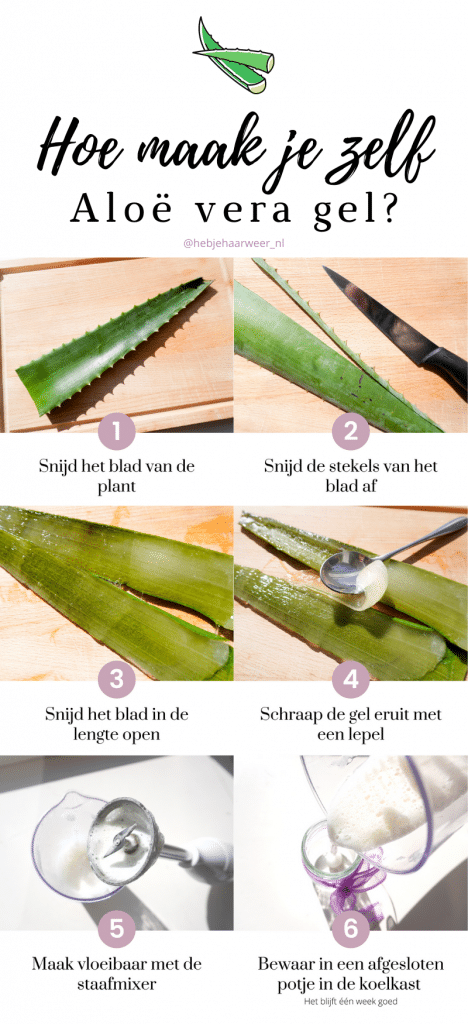 Je kunt beter geen aloë vera gel van de drogist gebruiken. Die zit vol met toevoegingen die je huid irriteren, zoals zouten. Gebruik daarom aloë vera gel vers van de plant. Het maken van aloë vera gel van de bladeren is heel makkelijk. Kijk maar.